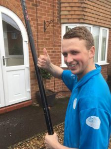 here is Alex working hard on a window cleaning job in Gloucester, doing a top job their Alex Thumbs up